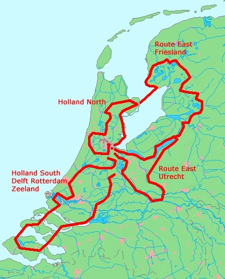 Map : Holland Private Tour from Amsterdam. Route East, North and South.