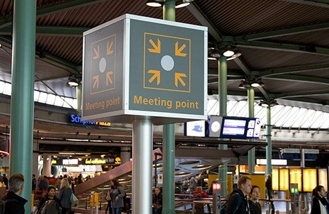 sign of the Meeting Point at Amsterdam Airport Schiphol